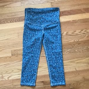Blue Spacedye Maternity Cropped Leggings